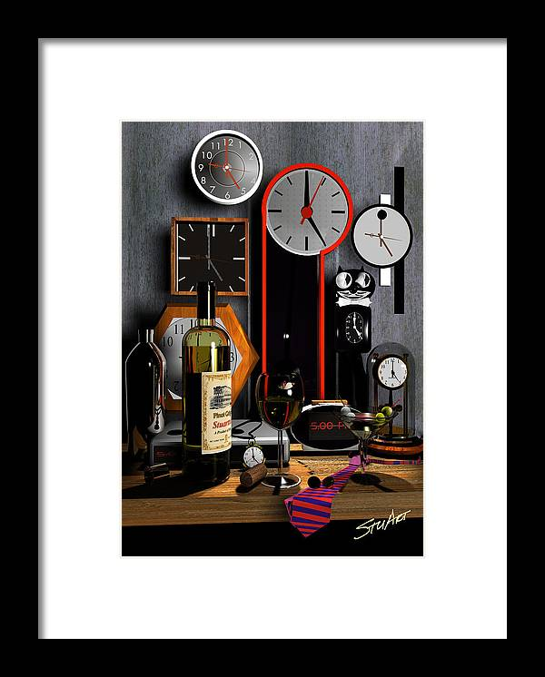Clocks Framed Print featuring the digital art Happy Hour by Stuart Stone