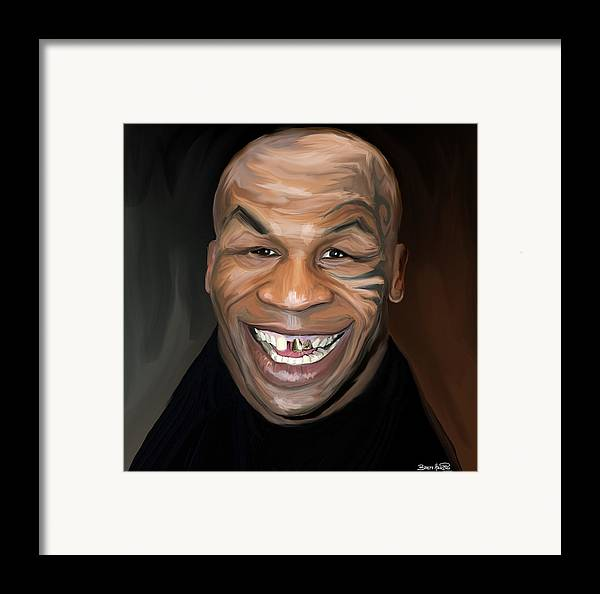 Mike Tyson Iron Teeth Gold Tattoo Smile Boxer Framed Print featuring the painting Happy Iron Mike Tyson by Brett Hardin