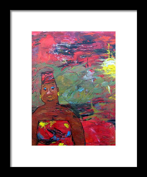 Red Framed Print featuring the painting Happy by Jane Hinrichs