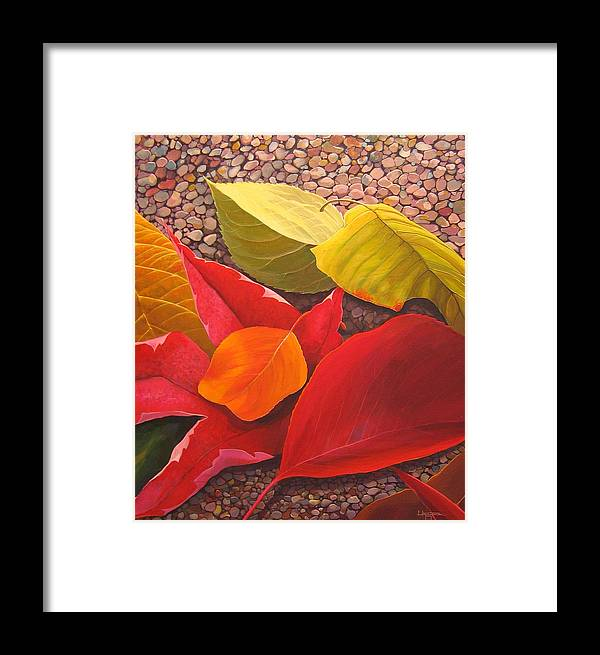 Autumn Leaves Framed Print featuring the painting Happy Landings by Hunter Jay