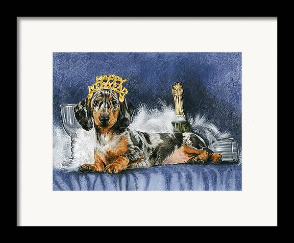 Dogs Framed Print featuring the drawing Happy New Year by Barbara Keith