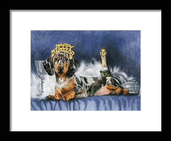 Dog Framed Print featuring the mixed media Happy New Year by Barbara Keith
