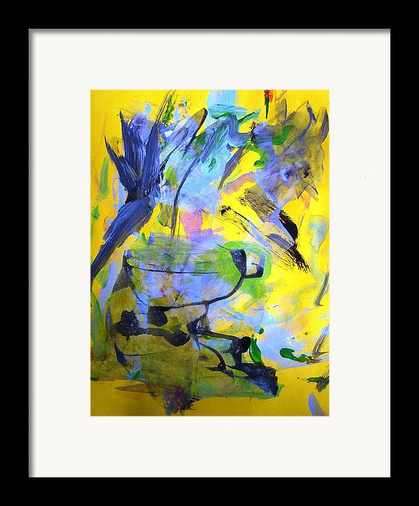 Yellow Framed Print featuring the painting Happy Old Bath Tub by Bruce Combs - REACH BEYOND