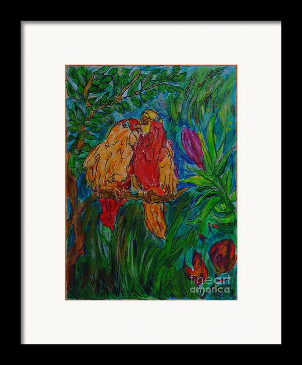 Birds Tropical Couple Pair Illustration Original Leilaatkinson Framed Print featuring the painting Happy Pair by Leila Atkinson