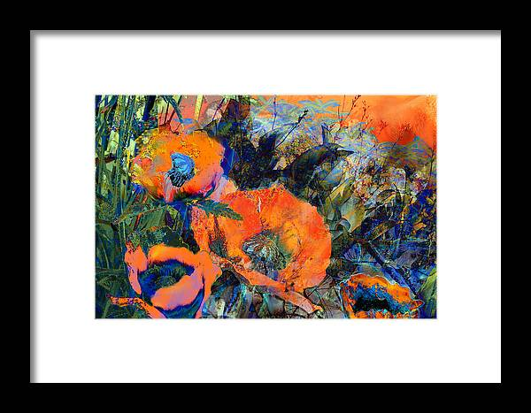 Flowers Framed Print featuring the painting Happy Poppies by Anne Weirich