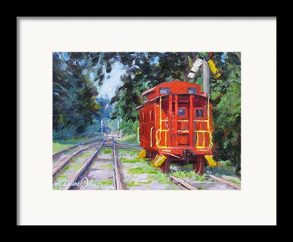 Railroading Framed Print featuring the painting Happy Rails by L Diane Johnson