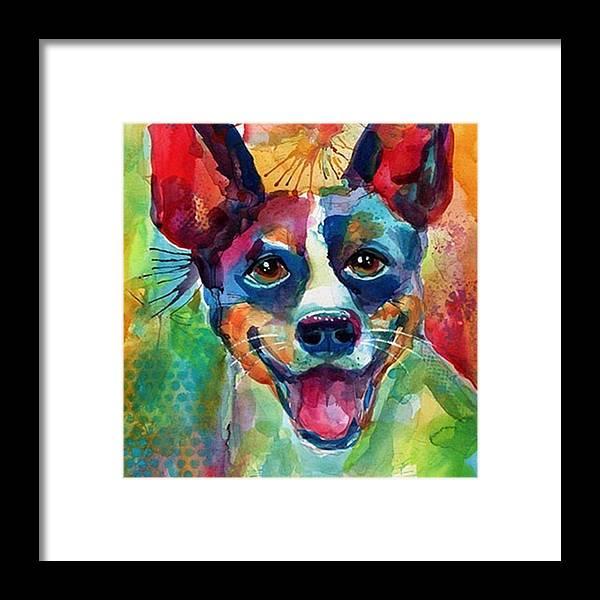 Custompetportrait Framed Print featuring the photograph Happy Rat Terrier Watercolor Portrait by Svetlana Novikova