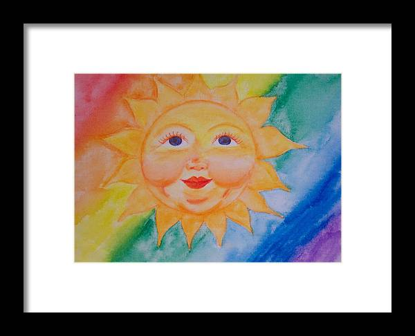 Sun Framed Print featuring the painting Happy Sun by Jennifer Hernandez