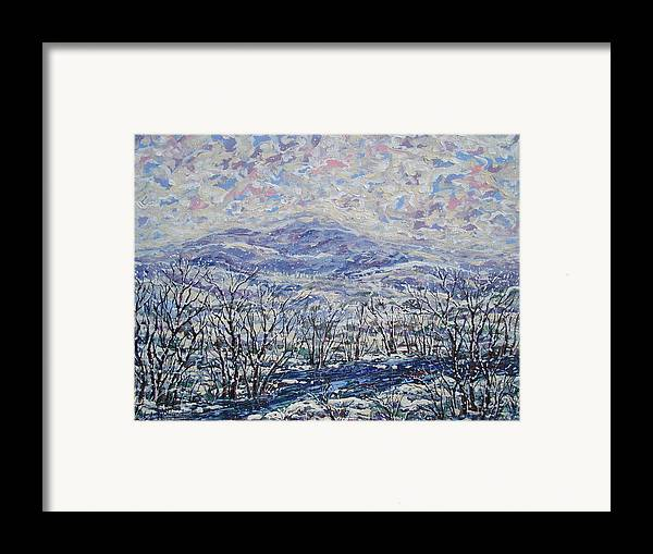 Landscape Framed Print featuring the painting Happy Winter. by Leonard Holland