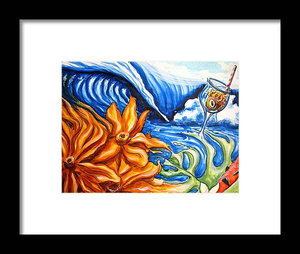 Surf Framed Print featuring the painting Happyhour by Ronnie Jackson
