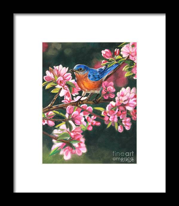 Blue Bird Framed Print featuring the painting Harbingers Of Spring by Deb LaFogg-Docherty