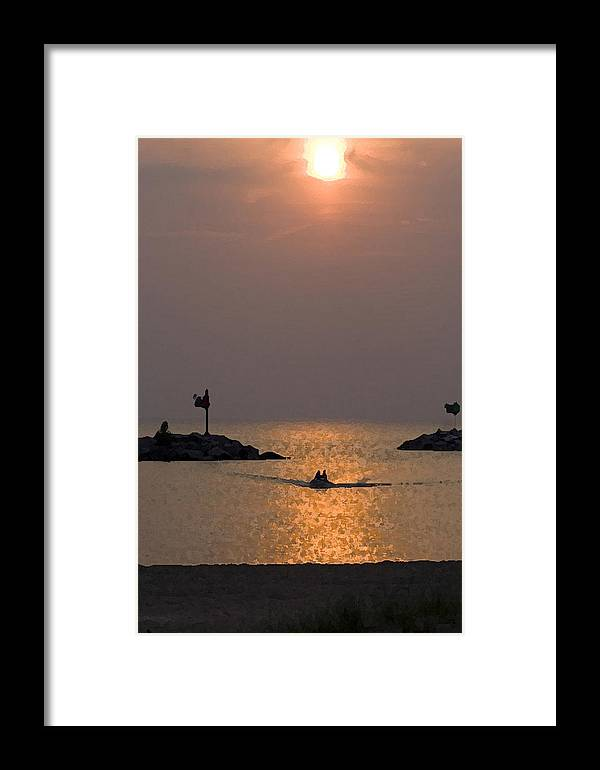 Boat Framed Print featuring the digital art Harbor At New Buffalo Michigan At Sunset by Christopher Purcell