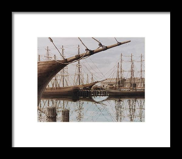 Ships Framed Print featuring the painting Harbor At Rest by Steven Welch