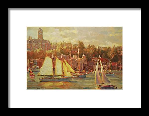 Nostalgia Framed Print featuring the painting Harbor Faire by Steve Henderson