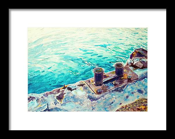 Seascape Framed Print featuring the painting Harbor Jetty by Aymeric NOA