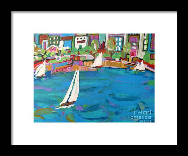 Sailing Framed Print featuring the painting Harbor Sails by Karen Fields