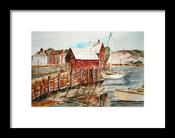 Original Art Framed Print featuring the painting Harbor Scene New England by K Hoover