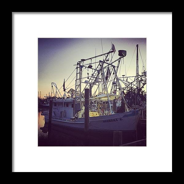 Harbor Framed Print featuring the photograph Harbor Shrimp Boat by Joan McCool