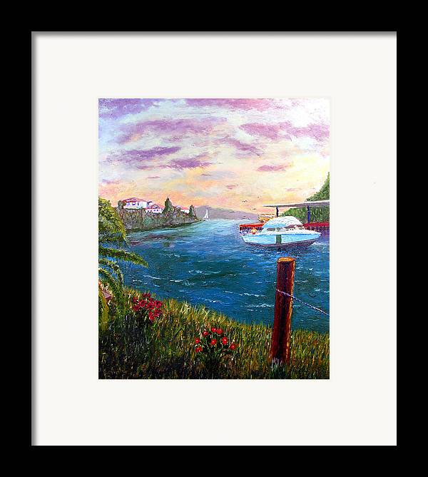 Original Oil On Wood Panel Framed Print featuring the painting Harbor by Stan Hamilton