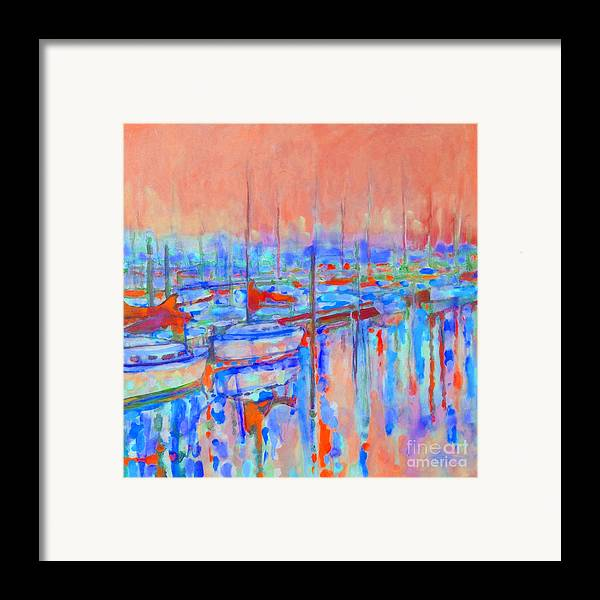 Harbor Framed Print featuring the painting Harbor Sunrise Eight Am by Kip Decker