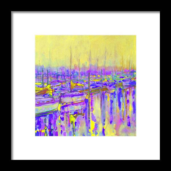 Harbor Framed Print featuring the painting Harbor Sunrise II Seven Am by Kip Decker