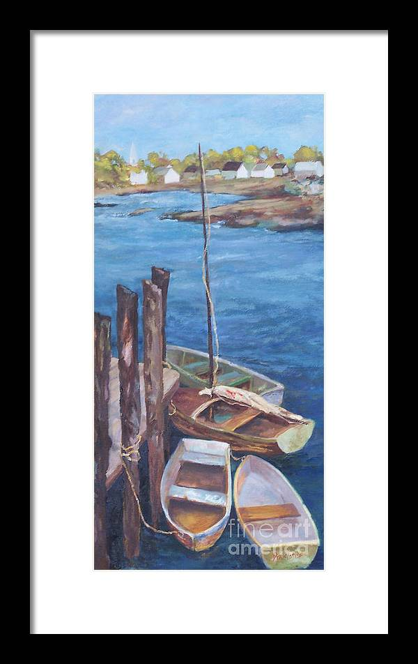 Coastal Landscape Framed Print featuring the painting Harbor View So. Freeport Wharf by Alicia Drakiotes