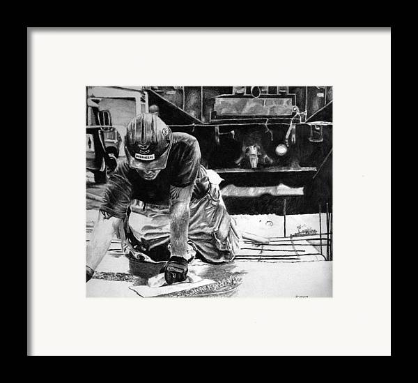 Military Framed Print featuring the drawing Hard Hands Heavy Heart Head High by Darcie Duranceau