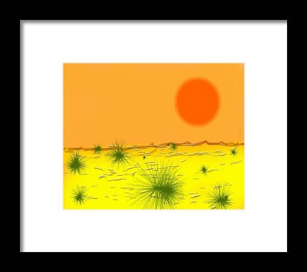 Sky.sun.desert.sand.heat.rare Bushes Of The Prickle.dust.dry. Framed Print featuring the digital art Hard Sun Of Desert by Dr Loifer Vladimir