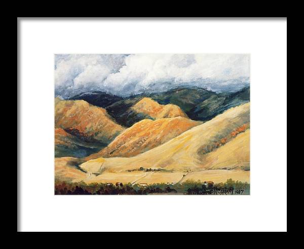 Landscape Framed Print featuring the painting Hardscrabble Canyon by JoAnne Corpany