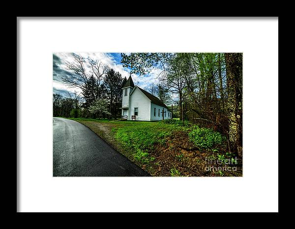Spring Framed Print featuring the photograph Hardtop And Church by Thomas R Fletcher