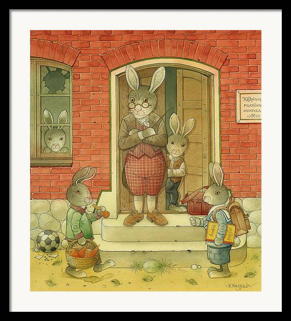 School Hare Red Teacher Framed Print featuring the painting Hare School by Kestutis Kasparavicius