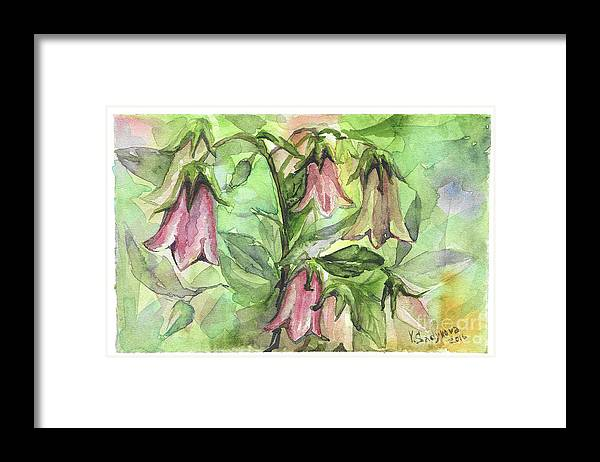 Harebell Framed Print featuring the painting Harebell by Yana Sadykova