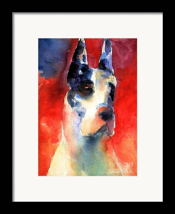 Great Dane Painting Framed Print featuring the painting Harlequin Great Dane Watercolor Painting by Svetlana Novikova