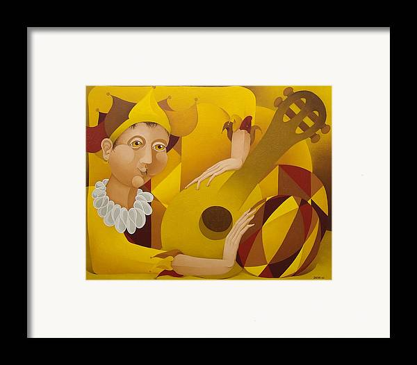 Sacha Framed Print featuring the painting Harlequin With Lute 2003 by S A C H A - Circulism Technique