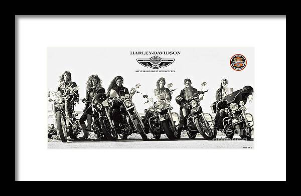 Harley Davidson Framed Print featuring the digital art Harley Davidson, 100 Years Of Great Motorcycles, And The Cool Women Who Ride Them by Thomas Pollart
