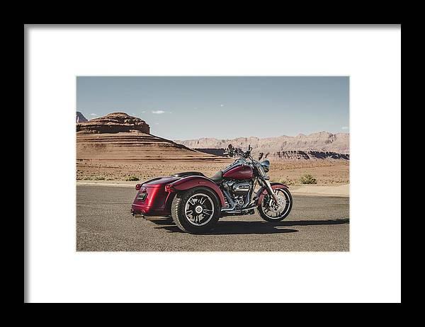 Harley-davidson Freewheeler Framed Print featuring the digital art Harley-Davidson Freewheeler by Super Lovely