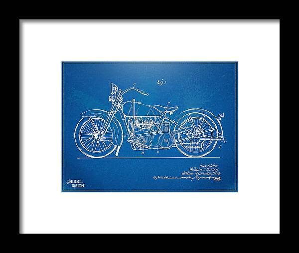 Harley-davidson Framed Print featuring the digital art Harley-davidson Motorcycle 1928 Patent Artwork by Nikki Marie Smith