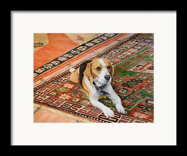 Akc Framed Print featuring the painting Harley by Debra Jones
