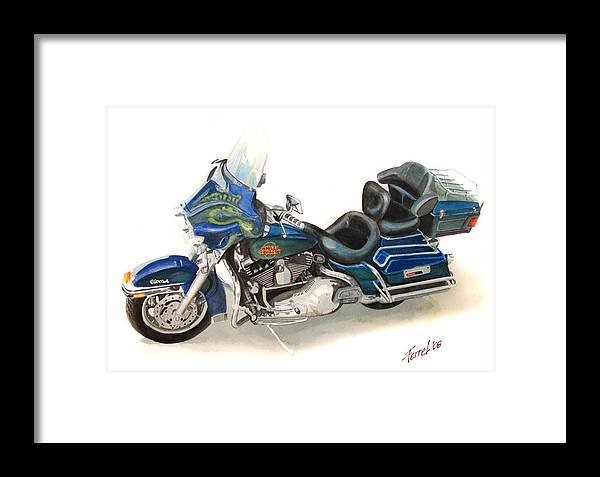 Motorcycle Framed Print featuring the painting Harley Electraglyde by Ferrel Cordle