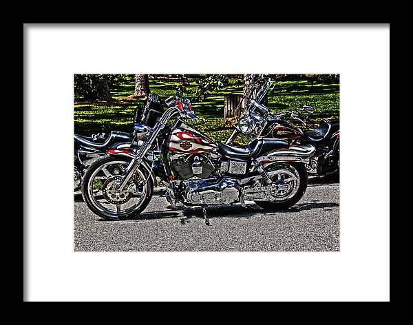 Harley Davidson Motorcycle Framed Print featuring the photograph Harley In Hdr by Frank Feliciano