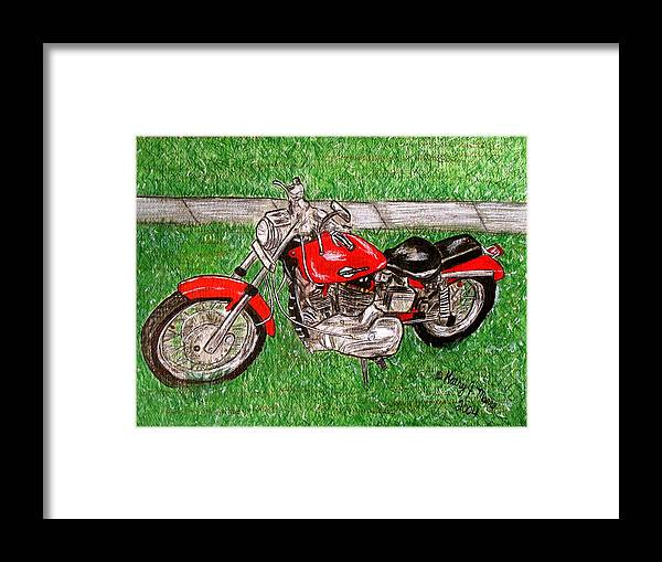 Harley Framed Print featuring the painting Harley Red Sportster Motorcycle by Kathy Marrs Chandler