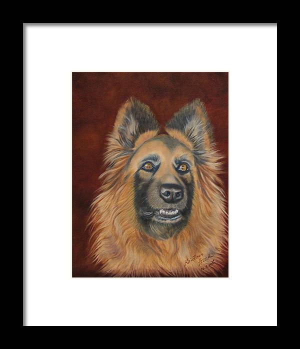 Dogs Framed Print featuring the painting Harley The Werewolf by Kristina Hauk