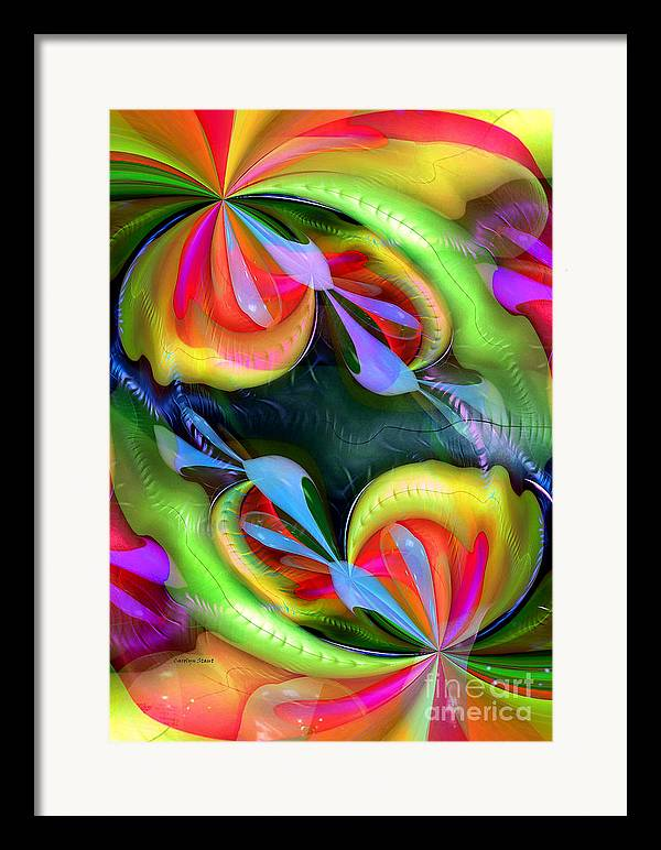 Abstract Colors Wall Art Framed Print featuring the digital art Harmonious Destination by Carolyn Staut