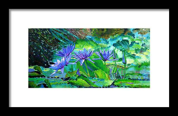 Purple Water Lilies Framed Print featuring the painting Harmony of Purple and Green by John Lautermilch