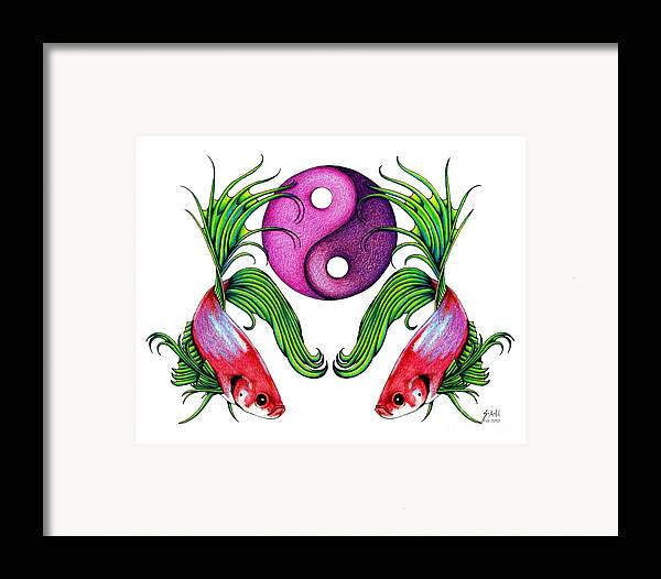 Ying Yang Framed Print featuring the drawing Harmony Together by Sheryl Unwin