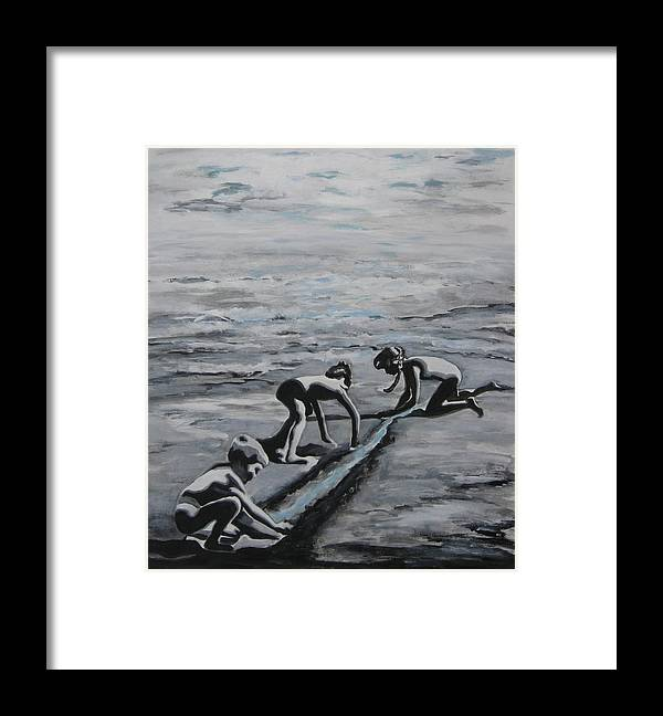 Children Playing On The Beach Framed Print featuring the painting Harnessing the Ocean by Naomi Gerrard