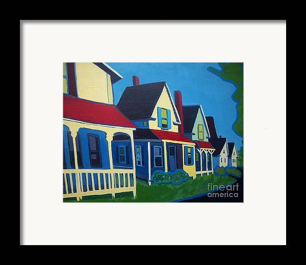 Maine Framed Print featuring the painting Harpswell Cottages by Debra Bretton Robinson
