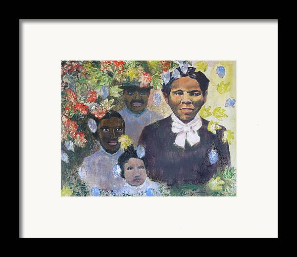 Harriet Tubman Framed Print featuring the painting Harriet Tubman- Tears Of Joy Tears Of Sorrow by Art Nomad Sandra Hansen