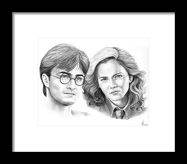 Pencil Framed Print featuring the drawing Harry Potter And Hermione by Murphy Elliott