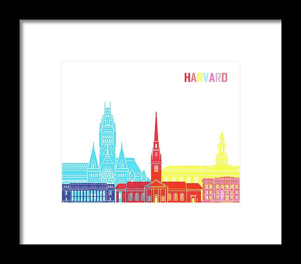 Harvard Ma Framed Print featuring the painting Harvard Ma Skyline Pop by Pablo Romero